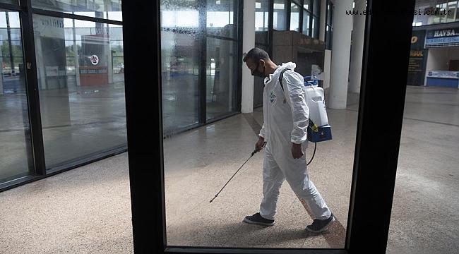 Edirne'de şehirlerarası otobüs terminali dezenfekte edildi
