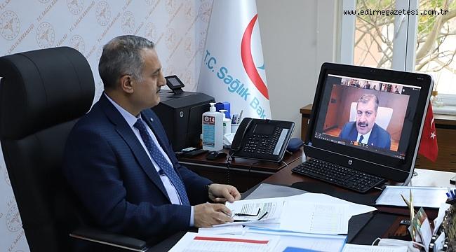 Edirne Sağlık Müdürü Kalkan koronavirüs konulu online toplantıya katıldı