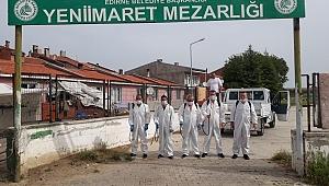 Mezarlıklar dezenfekte edildi