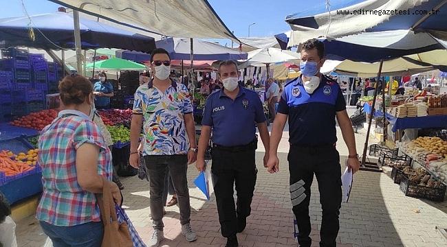 Edirne'de maske takmayan pazarcılara para cezası kesildi